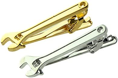 MeShow 1 96 Inches Men s Metal Wrench Spanner Tool Tie Clip Bar with Gift Bag 2Pcs Each of Gold product image