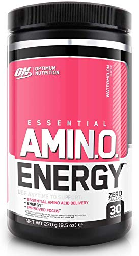 Optimum Nutrition Amino Energy Pre Workout Energy Performance Supplement with Beta Alanine, Caffeine, Amino Acids and Vitamin C Performance Supplement Watermelon, 30 Servings, 270 g