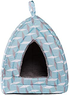 Hollypet Self-Warming 2 in 1 Foldable Comfortable Triangle Cat Bed Tent House, Light Blue Diamond