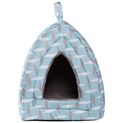 Hollypet Katzenbett Katzenhöhle Katzenzelt Haustierbett für Katzen Warmes Höhlennest Schlafbett, Hellblau
