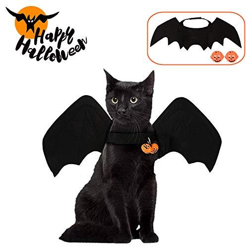 Fansu Halloween Mascotas Disfraz para Gato Perro,Plegable Alas de Vampiro Negras Estilo de MurcilagoTraje de Cosplay para Mascotas para Halloween Fiesta Temtica (Colgante de Calabaza,L)