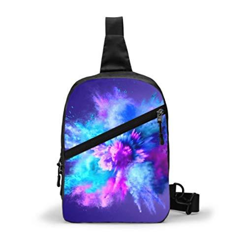 Bolso bandolera para gimnasio, mochila de viaje repelente al agua, bolsos de hombro para el pecho al aire libre, mochila cruzada informal para hombres y mujeres, azul explosivo, violeta, azul, congel