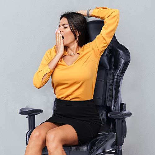 Kasorix Elektrische Massage Spielerstühle 200 kg Tragkraft Spielerstuhl 90-155.Neigungswinkel PC-Stuhl verstellbare Armlehnen und Fußstützen (schwarz-8204)
