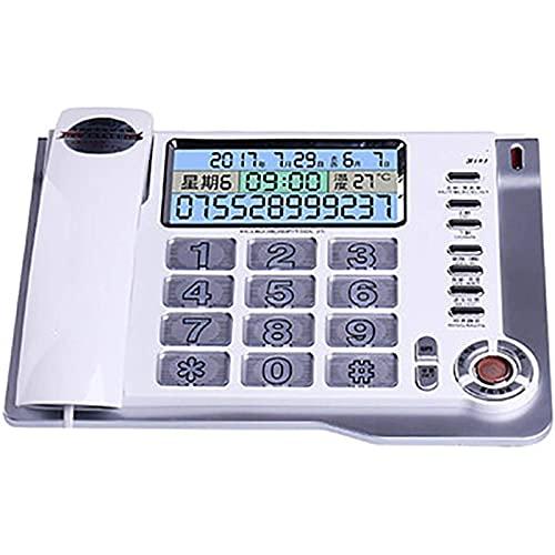 VERDELZ Teléfono Fijo Fijo Teléfono con Cable De Botón Grande Pantalla LCD con Retroiluminación De Lista Negra Llamada con Manos Libres Calculadora De Alarma para Personas Mayores