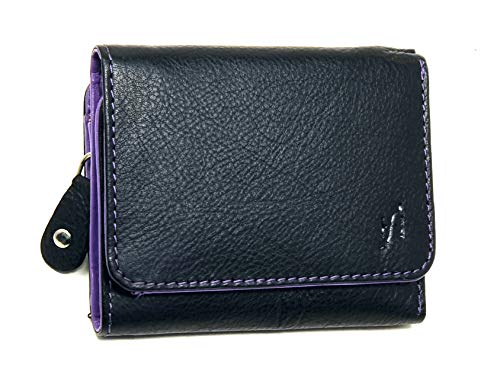 STARHIDE Ladies RFID Blocking Compact Genuine Leather Small Wallet With Zip Around Coin Pouch On The Side 5555 (Black Purple)