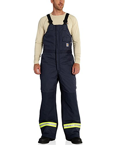 Carhartt Men's Flame Resistant Canvas Laminated Extremes Biberall, Dark Navy, Large