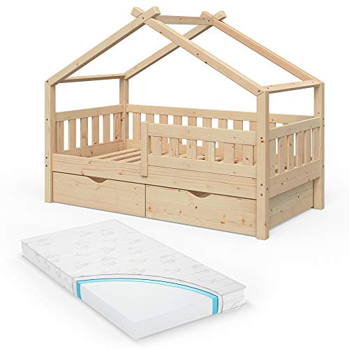 VitaliSpa Design Kinderbett 160x80 Babybett Jugendbett 2 Schubladen Lattenrost (Natur mit Matratze)