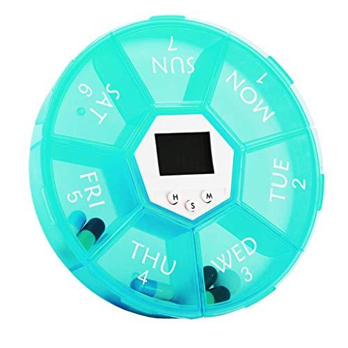 bhty235 Tablettenbox mit 7 Rastern, elektrischer Erinnerung, Zeitschaltuhr, Wecker, wöchentlich, rund Gn
