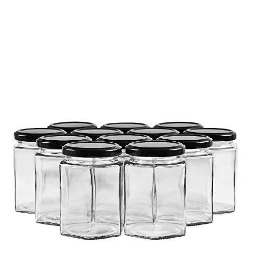 SHiZAK - Botes de tarro hexagonales con tapas negras, tarro transparente para mermeladas, miel, bodas, regalos de ducha, alimentos para bebés, tarros de especias y mucho más (12 unidades)