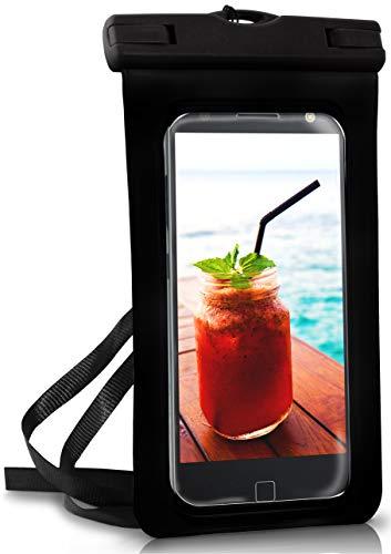 OneFlow® wasserdichte Handy-Hülle für Motorola & Lenovo | Touch- und Kamera-Fenster + Armband & Schlaufe zum Umhängen, Schwarz (Ocean-Black)