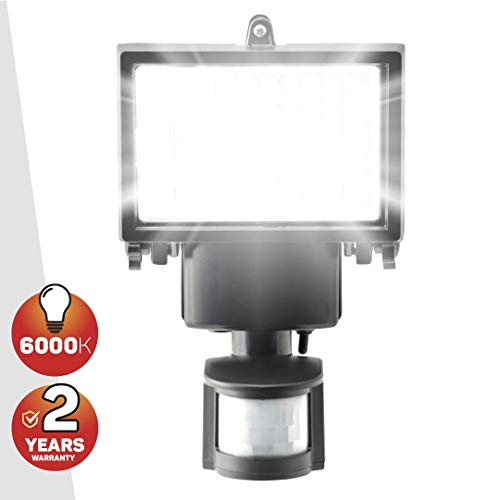 100 SMD LED Solar Powered Security Light - Waterproof and Comes with Built-in PIR Motion and Night Sensor for Outdoor, Garden, Shed by SPV Lights: Solar Lighting Specialists (Free 2 Year Warranty)