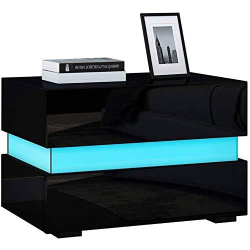 AYNEFY Mueble pequeño para TV con iluminación LED, armario para la televisión con 2 cajones, mueble para el salón o el dormitorio, 60 x 39 x 45 cm, color negro