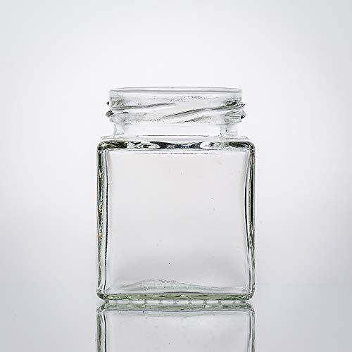 Flaschenbauer - 12 Mini Einmachgläser klein 106 ml Vierkant Gläser mit Schraubverschluss to 48 Gold - Mini Gläser mit Deckel perfekt als Mini Marmeladengläser klein, Honiggläser Mini