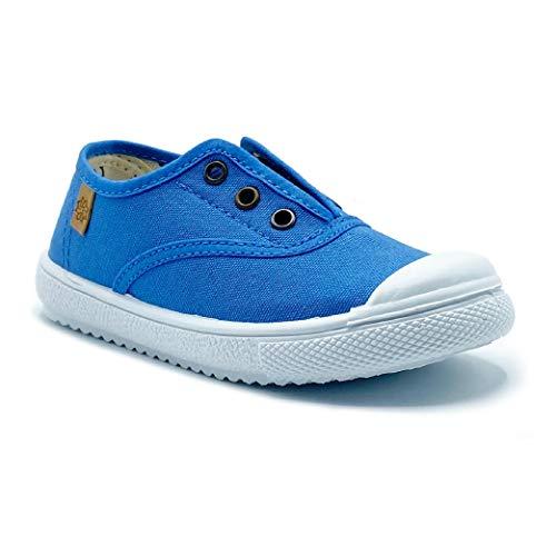 Zapatillas de Lona para niña y niño/Bambas Infantiles con aromaterapia antimosquitos/Calzado Infantil con Cierre de elástico/fabricacion en España (Denim, Numeric_31)