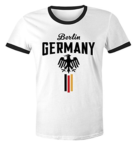 MoonWorks Herren Retro WM-Shirt Fan-Shirt Deutschland Fußball Weltmeisterschaft 2018 Berlin Adler weiß-schwarz M
