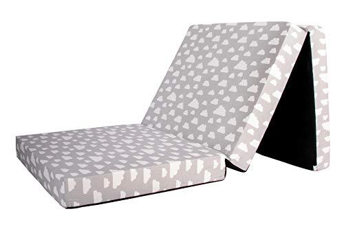 Babyblume Gästematratze, Klappmatratze, 189x79x10 cm, Gästebett klappbar grau mit weißen Wolken