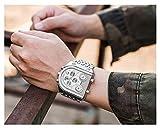 Reloj analógico de cuarzo azul para hombre, con tres zonas horarias, correa de acero, reloj de cuarzo dorado, resistente al agua, 30 m, 123, Plateado blanco, Size