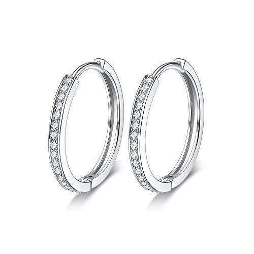 Lydreewam Creolen Damen Ohrringe Silber 925 mit 3A Cubic Zirkonia, Durchmesser 24mm