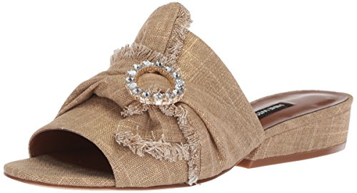 Nine West Women's LAFAY Slide Sandal, Gold Linen, 6.5 Medium US