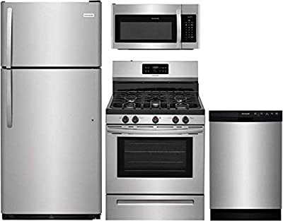 "Frigidaire 4-Piece Kitchen Appliance Package with FFTR1821TS 30"" Top Freezer Refrigerator, FFGF3054TS 30"" Freestanding Gas Range, FFMV1645TS 30"" Over the Range Microwave Oven, and FFBD2412SS 24"" Full Console Dishwasher in Stainless Steel"
