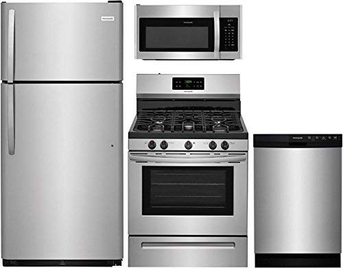 Frigidaire 4-Piece Kitchen Appliance Package with FFTR1821TS 30' Top Freezer...