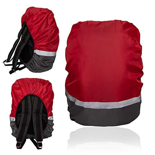 EOC Wasserfester Schutz für Rucksack Schulranzen 30-45L, Rutschfester Gummizug, hohe Sichtbarkeit Regenschutz, reflektierende auffällige Farben, für Wandern und Camping (Rot/Grau, M - 30-45 L)