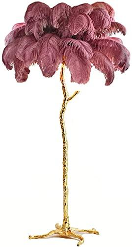 Lámpara de pie moderna de plumas para sala de estar, dormitorio, iluminación interior moderna, lámpara de pie (color del cuerpo: L 180 cm, color de la lámpara: púrpura) - L 180 cm - rojo