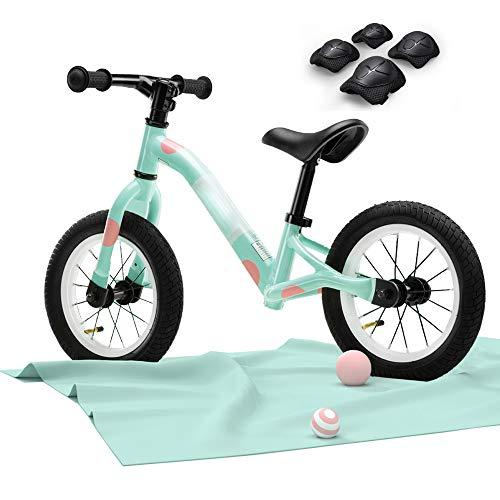 LYXCM Bicicleta Sin Pedales Ultraligera, Bicicleta Sin Pedales Scooter para Niños Bicicleta De Cuadro De Paso Fácil para Niños Niñas con Equipo De Protección