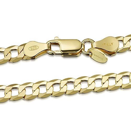 Amberta Cadena Chapada Oro Amarillo 18K en Plata de Ley 925 para Hombre - Malla Barbada - Grosor 5 mm - Longitud 65 cm