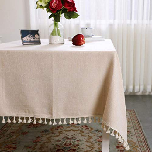 BXM effen kleur tafelkleed katoen en linnen kwast vierkante salontafel eettafel thuis verse tuin tafelkleed decoratie