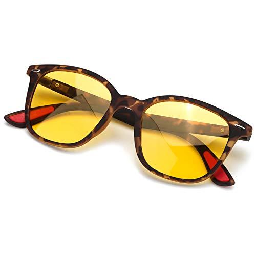 SIPHEW Nachtfahrbrille für Herren/Damen, Polarisierte Nachtsichtbrille - Blendreduzierende Gelbe Linse (Nachtfahrbrille, Schildkröte)