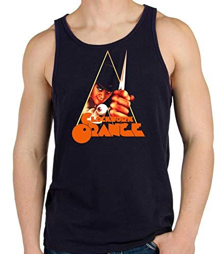 Desconocido 35mm - Camiseta Hombre Tirantes Clockwork Orange - La Naranja Mecanica - Cine de Culto - Negro - Talla s