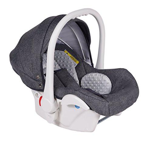 Clamaro Babyschale Auto 'JUNO white' ultraleicht 2,95 kg mit Anti-Shock Schaumstoff, Gruppe 0+ (0-13 kg) ECE-R 44/04 - Baby Autositz inkl. Sonnenverdeck und Fußabdeckung - Dunkelgrau Leinen