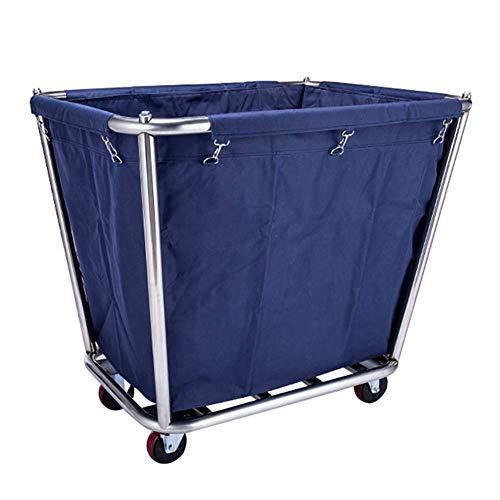 Wäschesortierwagen Hotel Aufbewahrungstasche Wäschewagen mit Abnehmbarem Edelstahlrahmen, Mehrzweck-Reinigungswagen mit Langlebigen Rollen, Blau, T-C