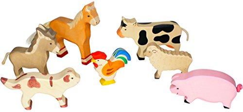 Holztiger Pferd, Kuh, Esel, Schwein, Schaf, Hahn und Hofhund im Bambilino® Set Großer Bauernhof