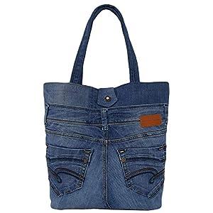 Denim Tote Bag, Jeansstoff Shopper Tasche, Damentasche aus alten Jeans, Handtasche Damen, Alltag Shopping Einkaufen…