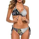 Bikini traje de baño para mujeres coloridas cebras traje de baño de dos piezas señora halter inferior viaje tiras ropa de baño, Blanco-estilo1, XL