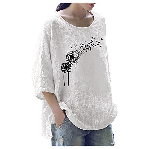 Mujeres de Elegante Camiseta de Manga Larga Cuello Redondo Vintage Camisetas Color sólido Basicas Camisas Suelta Blusa
