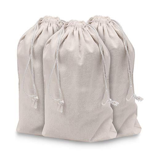 Bolsa de Muselina (Pack de 10) - 40cm x 30cm, Bolsa Ecologica Biodegradable, reutilizable - Bolsas Tela Algodón Orgánico - Bolsa con Cordel - para el Hogar y el Almacenamiento de Verduras