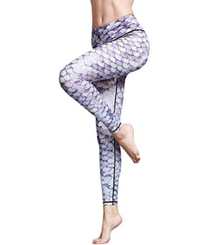ECHERY Damen Alltag Tanzen-Aktiv-Leggings Gedruckt Nahtlose Yoga-Fitness-Strumpfhose Hose Mermaid-S