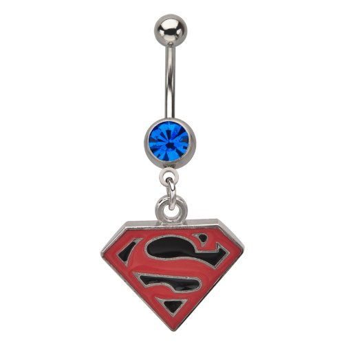 316L Surgical Steel Titanium Plated Dangle Superman Belly Ring With A Black Background And A Blue Gem - 14G (1.6mm) - Official Licensed Product, TM & © DC Comics