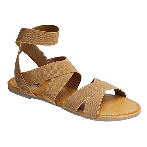 Trary Ankle Strap Casual Elastic Flat Sandals for Women Brown 105