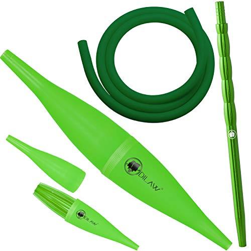 DILAW Shisha Ice Bazooka + Alu Mundstück + Silikonschlauch Set Kombinierbar mit Allen Handelsüblichen Schläuchen (Grün)