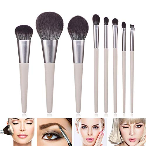 HZD 8Pcs Makeup Brush Wooden Handle Nylon Brush Hair with Bag Cosmetic Tools,P