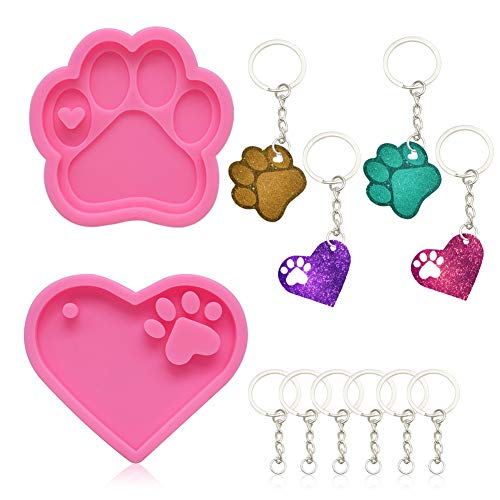 2 Pcs Silicone Molds for Resin and 10 Pcs Key Rings with Chain,Pet Paw Shape Handmade Keychain Silicone Mold with Hole Keychain Molds Chocolate Candy Clay Moulds for DIY Keychains,Cake,Chocolate,Pink