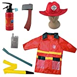 Liberty Imports Fire Fighter Chief Role Play Costume Set - Kids Fireman Dress Up Pretend Play Outfit with Rescue Tools and Accessories (7 Pcs)