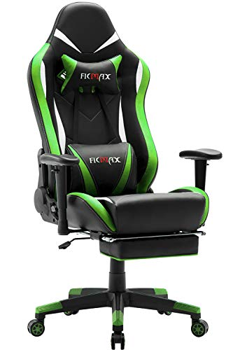 Ficmax Massage Gaming Chair with Footrest Ergonomic Gamer Chair for E-sport, Reclining Video Game...