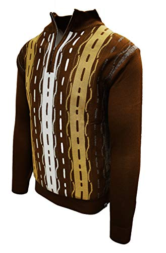 STACY ADAMS Men's Sweater, Tri Vertical Jacquard Front Design (XXL, Brown)