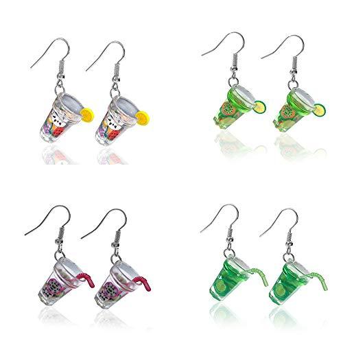 Mountainer 4 Pairs Cute Milk Tea Dangle Drop Earrings Funny Lemon Fruit Tea Earrings for Women Girls Unique Jewelry Christmas Gifts-B