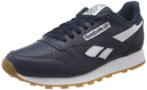Reebok Herren Cl Leather Mu Gymnastics Shoe, Collegiate Navy/White/Reebok Rubber Gum-06, 45 EU